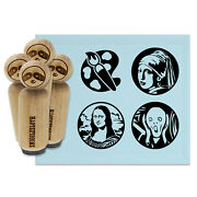 Famous Paintings Scream Mona Lisa Girl Pearl Earring Rubber Stamp Set Stamping