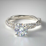 Real Diamond Round Cut 1.13 Ct 18k Solid White Gold Wedding Rings Size 5 6 7 8 9