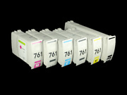 6pc / Set For Hp 761 Recycled Cartridge For Hp T7100 T7200 Printer