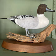 Hand Carved Painted Wooden Duck Statue/decoy Signed Artisan Hand Made Tom Ahern