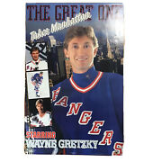 Vintage Wayne Gretzky The Great One Takes Manhattan Rangers Hockey Poster