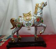 Vtg/atq. Bejeweled Cloisonne Charm Enameled Lucky Horse Gold White Wooden Stand
