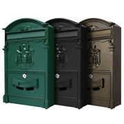 Vintage Style Mailbox Wall Mount Post Box Outdoor Locking Letter Post Box Mail