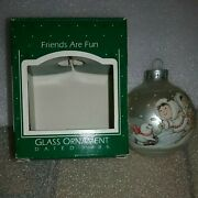 1986 Hallmark Friends Are Fun Christmas Glass Ball Ornament Frosty Complement