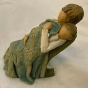 Brown Tan Willow Tree 5.5 Mother With Child Under The Quilt Figurine