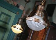 Pair Of Prismatic Glass And Brass Asteroid Pendants Lights Lanterns Holophane