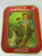 Authentic Coke Coca Cola 1931 Fishing Boy Advertising Serving Tin Tray A-187