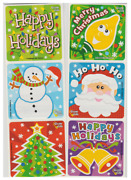 25 Merry Christmas Glow-in-dark Stickers, 2.5 X 2.5 Each, Party Favors