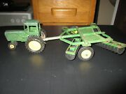 Vintage Ertl John Deere Tractor And Row Crop Cultivator Plow Die Cast And Plastic