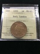 1899 Iccs Graded Canadian Large One Cent Ms-65landon Collection