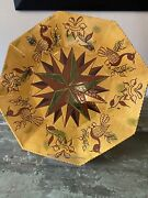 Vintage 1986lester Breininger Redware Pottery Platter 14 X14 Happy New Yearand039s
