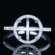 Worth 14k White Gold Round 9.5mm Pave Real Diamonds Semi Mount Engagement Ring