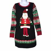 United States Sweaters Nordic Santa Claus Ugly Christmas Sweater Tunic M