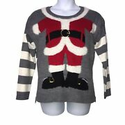 United States Sweaters Gray Striped Santa Claus Body Ugly Christmas Xl