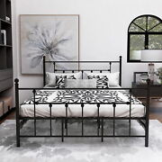 Metal Full Size Beds Frame Sturdy Steel Foundation With Headboard And Footboard