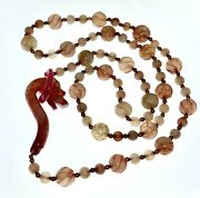 Vintage Chinese Pink Red Carved Jade Dragon Clasp Necklace