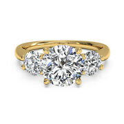 18k Yellow Gold Round Cut 0.90 Ct Real Diamond Engagement Rings Size 5 6 7 8 9