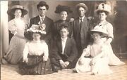 Vintage Rppc Postcard Family Portrait Fancy Hats And Clothes Around 1908   B-68