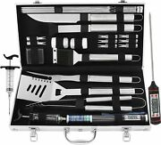 Bbq Set 24piece Stainless Steel, Thermometerandmeat Injector, Barbecue Grill Tool
