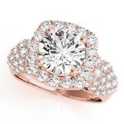 Round Cut 1.70 Ct Real Diamond Engagement Rings Solid 18k Rose Gold Size 6 7 8 9