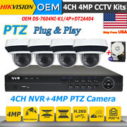 Hikvision Oem 4mp 4ch Ptz Cctv System Plugandplay Ds-2de2a404iw-de3 Zoom Ipc Lot