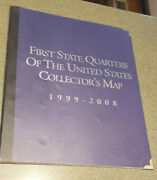 State Quarters Map 1999-2008 Completed 50 Coins Album W/guide/cert. Authenticity