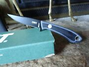 Crkt 6.625 O.a. Fixed Blade Knife Black And Blue Handle G10 Sk5 Carbon Steel Blad