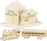 Lenox Christmas Village Train Station And Train And Passenger Car 2 Boxes New