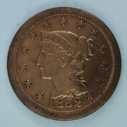 1852 Braided Hair Liberty Head Large Cent Au Details/ Rb