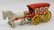 Antique Old Decorative Metal Cast Iron Pull Toy Ice Wagon Horse And Carriage