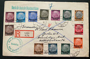 1939 Lublin Gg Poland Germany Dienstpost Registered Cover To Berlin Stamp Set