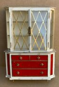 Dollhouse Doll House China Cabinet Red Velvet Plastic Miniature Vintage Ideal