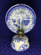 Delft Dutch Royal Blue Antique Oil Lamp In Blue And White Porcelain/ Never Used‼️