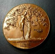 1921 Helsinki The Law Society Of Finland Vintage Art Deco Medal Nude Eve
