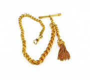 Antique Watch Chain With Tassel In 15k Yellow Gold