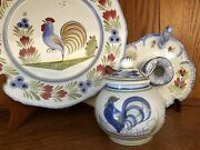 Henriot Quimper Le Coq Rooster Plate, Candle Holder And Sugar Bowl French 3 Pieces
