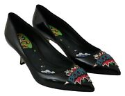 Dolce And Gabbana Shoes Boom Heels Pumps Black Leather S. Eu40 / Us9.5 Rrp 960