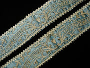 Antique French Georgian Beauvais Stitch Embroidered Wedding Garters For Museum