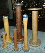 Lot Of Large Antique Vintage Wooden Industrial Mill Factory Bobbins Or Spools