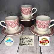 Staffordshire Engravings 17th Century Set Of 3 Mugs And 3 Saucers Red