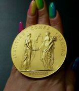 1948 Ministry Of Justice France Art Deco Gold Plated Silver Official Medal