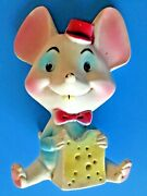 Vtg 1960and039s Rare Rubber Happy Cute Mouse With Cheese 7 Squeak Toy Alan Jay Clone