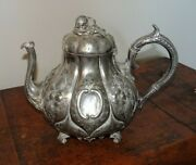 Antique 19th Century Roberts And Co Silver Plated Fairy Tale Pumpkin Teapot Legs