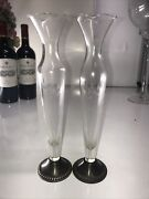 2 Vintage Duchin Creation Weighted Sterling Silver Bud Flower Etched Glass Vase