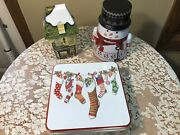 Lot Of 3 Vintage Christmas Cookie Candy Tins Snowman Victorian Shop Stockings