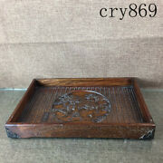 13.6china Antique Qianlong Sign Collection Rosewood Sculpture Unicorn Plate