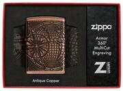 Zippo Unisex Lighter World Map Antique Copper Collectible Windproof