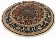 Genuine Hand Knotted Highend Luxurious Wool And Silk Rug 8.0 X 8.0 Feet Round