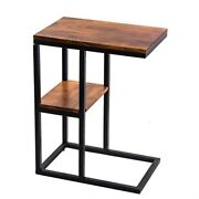 The Urban Port Iron Framed Mango Wood Accent Table With Lower Shelf Brown