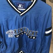 Vintage Kentucky Wildcats Starter Pullover Menandrsquos Size Xl Fits Like L Blue Rare